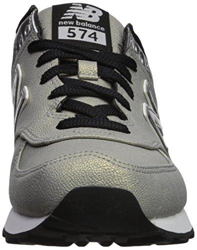 Mujer para Plateado Silver Zapatillas 574 Metallic Balance New pqn7x87z