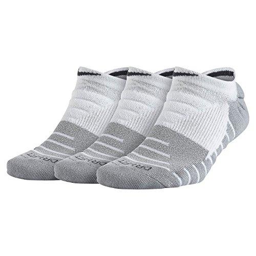 Nike Dry Cushion No-Show Training Socks (3 Pair) (Medium, White)