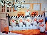 FAT CHEF 3-D Wood Spice Rack & 5 Jars Set NEW