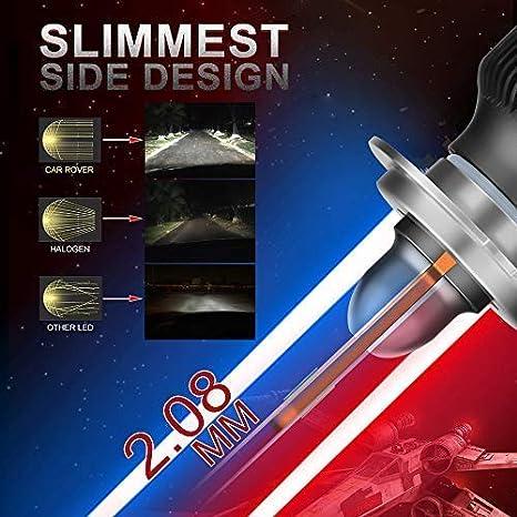 Faros Delanteros Luces L/ámparas para Coche y Moto 8000LM 6500K Bombillas H7 LED