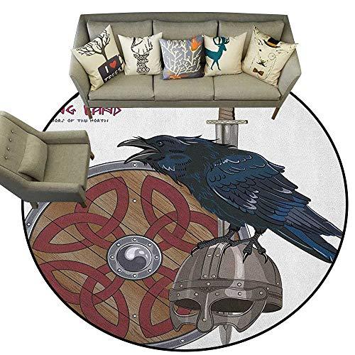 Viking,Carpet mat Raven on Steel Helmet Nordic Sword Shield Warfare Scandinavian Army Medieval Armour D48 Long Kitchen Mat Bath Carpet