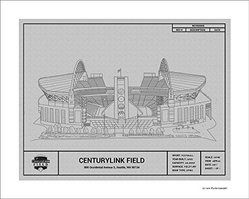 Seattle Seahawks Centurylink Field Blueprint Art Gift
