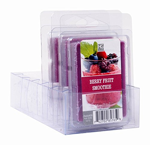 Hosley Set of 6 Fruit Smoothie Wax Melts- 2.5 oz Each. Hand Poured Wax Infused with Essential Oils. Bulk Buy. Ideal for Weddings, Spa, Reiki, Meditation Settings. W1