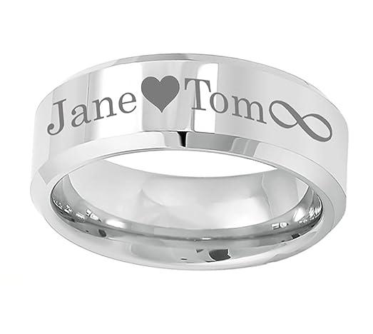 Personalized Outside Inside Engraving Cobalt Wedding Band Ring 8mm Polished Shiny With Beveled Edge