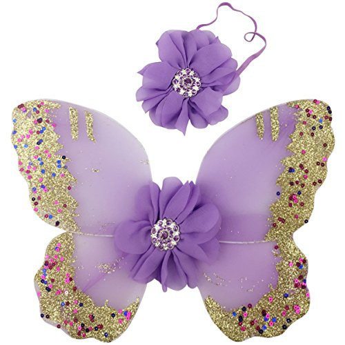 [Jastore® Photo Prop Outfit Baby Girl Flower Angel Wing Costume with Headband (Color 7)] (Baby Angel Wings Costumes)