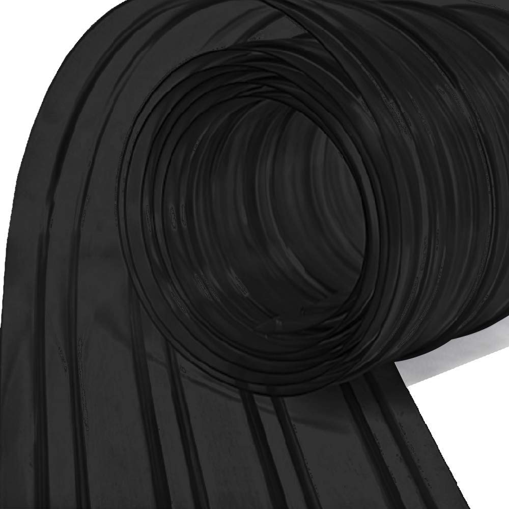 Resilia - Plastic Vinyl Strip Curtain for Walk In Freezers, Coolers & Warehouse Doors - Black Opaque, 80 mil Thick, 8 Inch x 75 Foot Roll