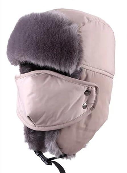 Outdoor Winter Waterproof Trapper Hat Ushanka Russian Hat with Ear Flap  Mask(Beige) 372cde6ccad
