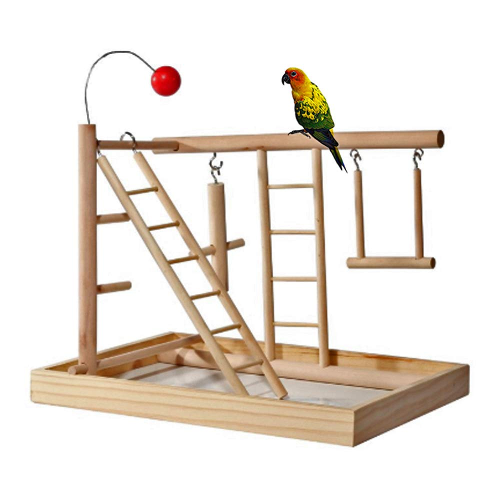 kathson Parrot Playpen, Bird Perch Playstand Parrot Playground Gym, Wood Ladder Swing Climbing with Toys Exercise Play for Parakeet Budgie Conure Hamster by kathson