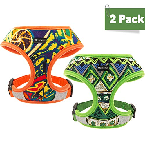 HOMIMP Dog Harness Vest 2 Packs - Bohemian Style Pet Adjustable Harness, Outdoor Reflective Material for Small Medium Large Dogs ()