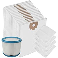 Spares2go Washable Motor Filter + Wet & Dry Cloth Bags For NILFISK ALTO AERO Vacuum Cleaner (Pack Of 16 + Fleece Filter)