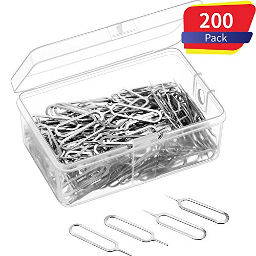 200 Pack Sim Card Tray Eject Pin Ejector Removal Tool for iPhone X, 8 Plus, 8, 7 Plus, All Other iPhone Models, iPads, iPods, Samsung Galaxy Note/S/Edge/J Series, HTC Phone Models (200 Pack)