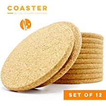 Absorbent Cork Coasters (Circle) - Set of 12, Best Drink Coaster for Drinks in Office, Home, or Cottage