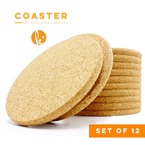Absorbent Cork Coasters (Circle) - Set of 12, Best Drink Coaster for Drinks in Office, Home, or Cottage Circle Monogram Set