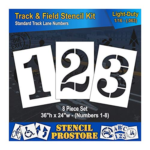 - Athletic Marking Stencils - 36 inch - Track and Field Number Stencils - (8 Piece) - 36