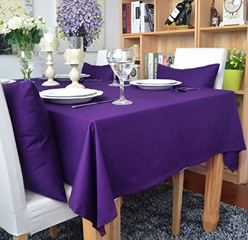 KINGDESON Cotton Linen Rectangle Polyester Solid Color Modern Tablecloth Multi Sized ()