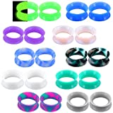Jewseen 20PCS Soft Silicone Ear Gauges Flesh