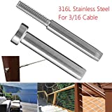 HAPYLY Stainless Steel Invisible Receiver & Swage Stud End Fitting - 3/16 Cable Railing