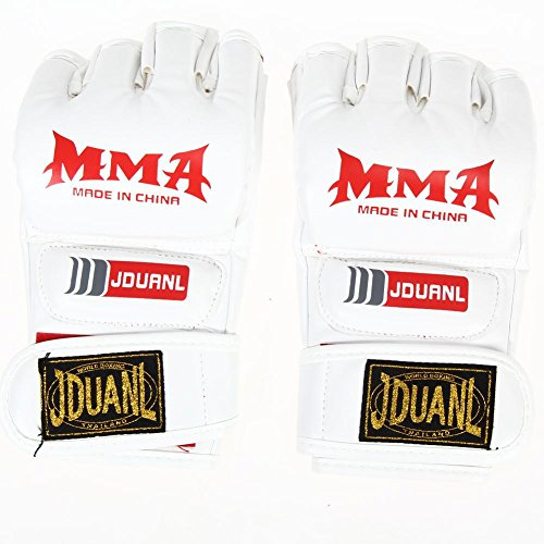 Price comparison product image MMA Muay Thai Boxing Training Gloves Half Mitt (White)