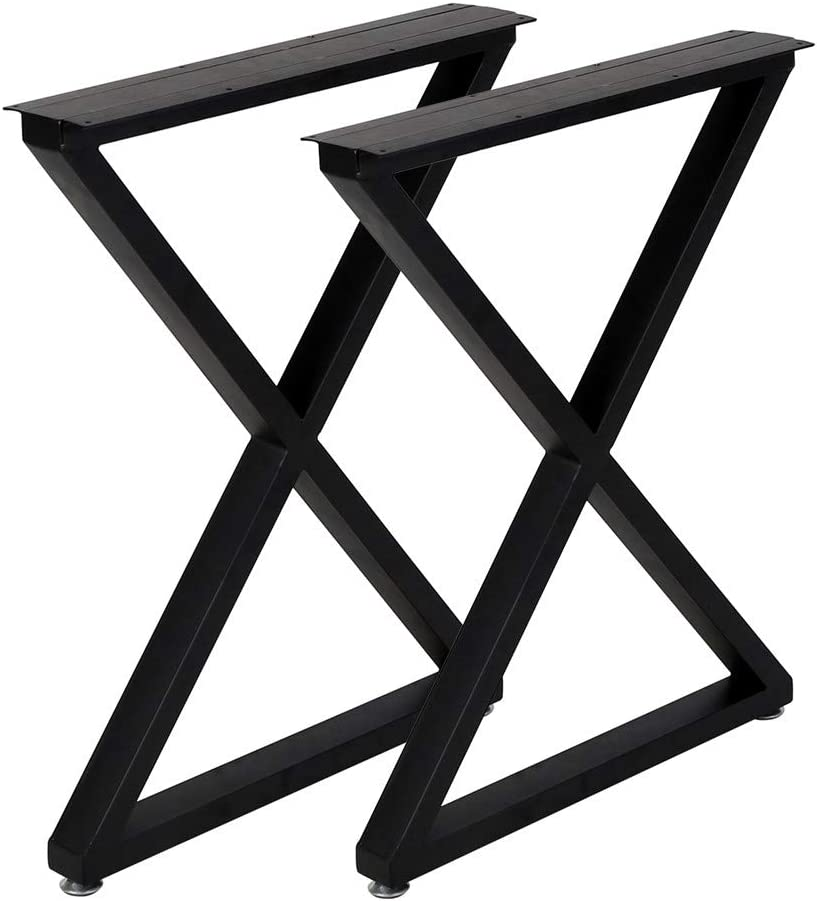Metal Legs For Table X Shape 28 H Tall Metal Table Leg Heavy Duty Metal Desk Legs Industrial Table Legs Set Of 2 Black