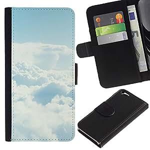 YiPhone /// Tirón de la caja Cartera de cuero con ranuras para tarjetas - Cielo despejado Nube - Apple Iphone 6