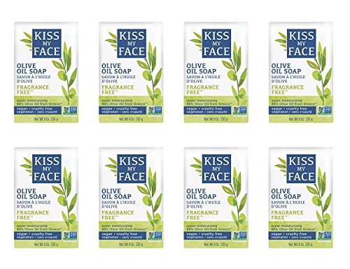Kiss My Face Naked Pure Olive Oil Soap, Moisturizing Bar Soap, 8 oz Bars, (pack of 8)