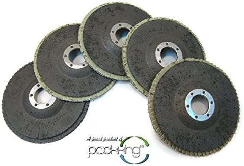 5pc 4.5 Flap Grinding Disc Assorted Pack 40, 60, 80, 120, 180 Grit
