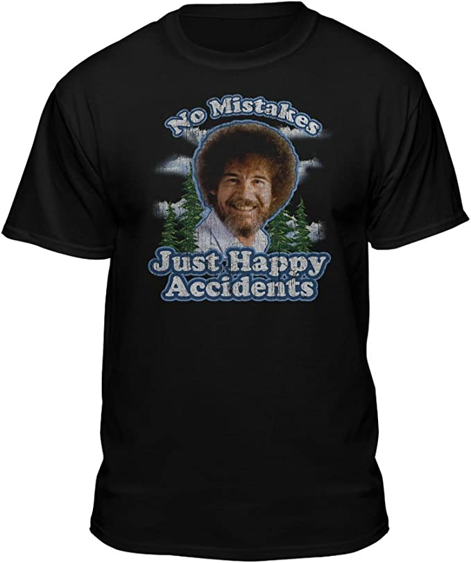 Bob Ross T shirt in black- unusual gifts for artists