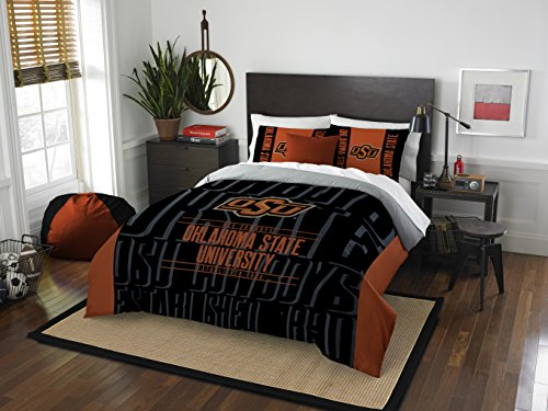 Oklahoma Sooners Full Comforter - The Northwest Company Officially Licensed NCAA Oklahoma State Cowboys Modern Take Full/Queen Comforter and 2 Sham Set
