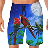 Mens Swim Trunks Parrots Couple Night Full Moon Comfortable Drawstring Cargo Shorts