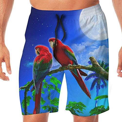 Mens Swim Trunks Parrots Couple Night Full Moon Comfortable Drawstring Cargo Shorts by ZGZGZ