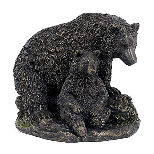 Real Bronze Metal Statue Mountain Grizzly Brown Bear Family  Cubs Sculpture Art