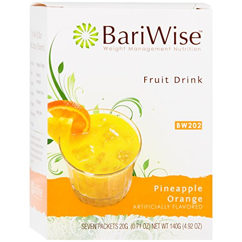 BariWise High Protein Powder Fruit Drink (15g Protein) / Low-Carb Diet Drinks - Pineapple & Orange (7 Servings/Box) - Fat Free, Low Carb, Low Calorie, Sugar - Bars Diet Protein Bariwise