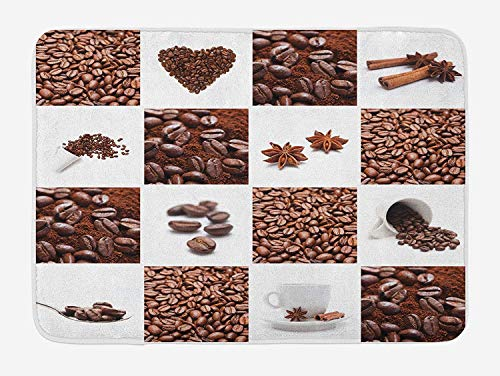 (Weeosazg Kitchen Bath Mat, Coffee with Roasted Beans Concept Collage Hearts Stars Espresso Latte Mugs Aroma, Plush Bathroom Decor Mat with Non Slip Backing, 31.5 X 19.7 Inches, Brown White)