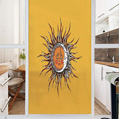 Decorative Window Film,No Glue Frosted Privacy Film,Stained Glass Door Film,Abstract Celestial Patterns with Anthropomorphic Faces Leaves and Swirled Stripes Sky Decorative,for Home & Office,23.6In. b