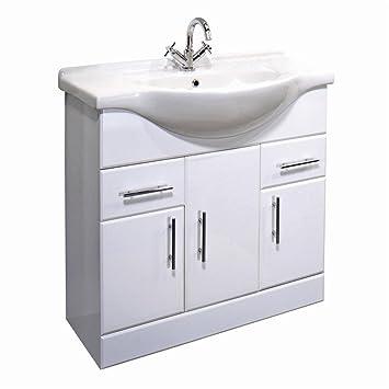 Exceptionnel Arcadia 750mm White Gloss Bathroom Vanity Unit U0026 Basin By Arcadia