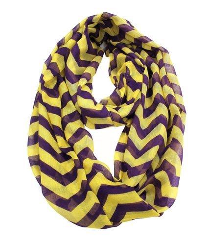 Amtal Women Yellow & Purple Chevron Zig Zag Soft Infinity Scarf