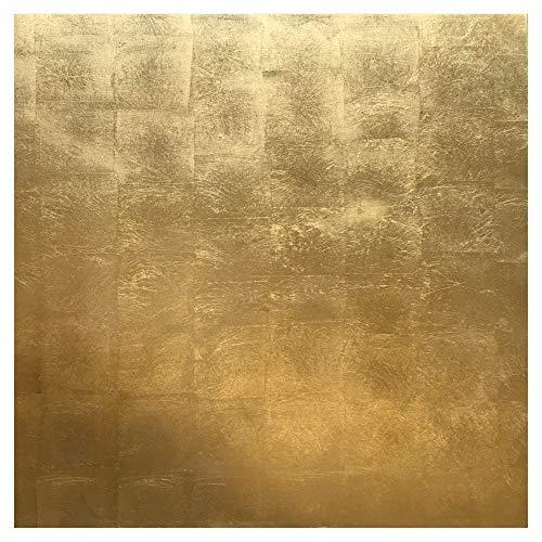 Gold Leaf Lacquer - Caspari Gold Leaf Lacquer Placemat 13.5 Inch Square, 4 Mats