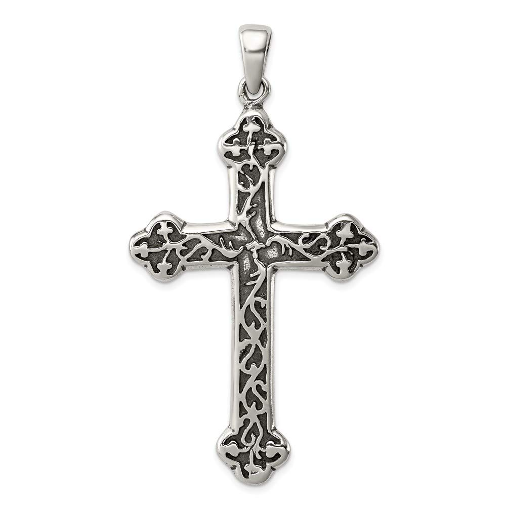 34mm x 63mm Jewel Tie 925 Sterling Silver Antiqued-Style Thorn Cross Pendant