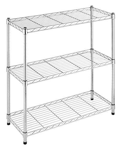 Whitmor Supreme 3 Tier Shelving with Adjustable Shelves and Leveling Feet - Chrome ()