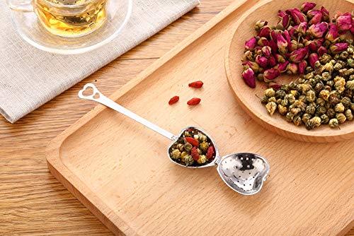 Tea Filter Long Grip Stainless Steel Mesh Heart Shaped Tea Strainer Spoon, Set of 10 Tea Infuser Spoon by WYOK (Image #1)