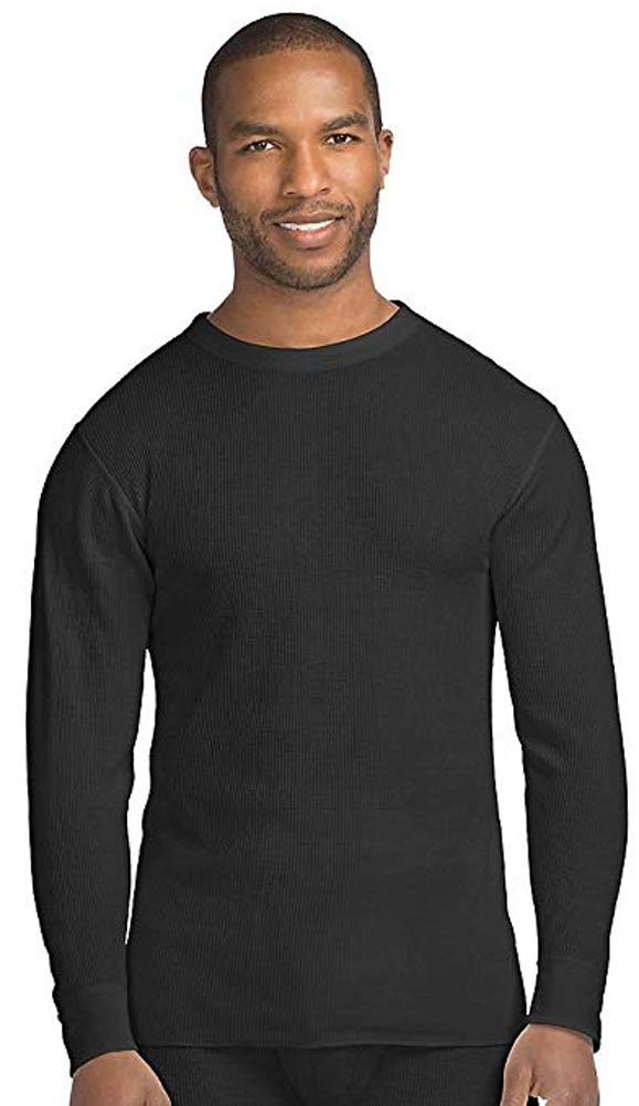 Hanes Men's Tall Size Thermal Crew Neck Shirt, Large Tall, Black by Hanes