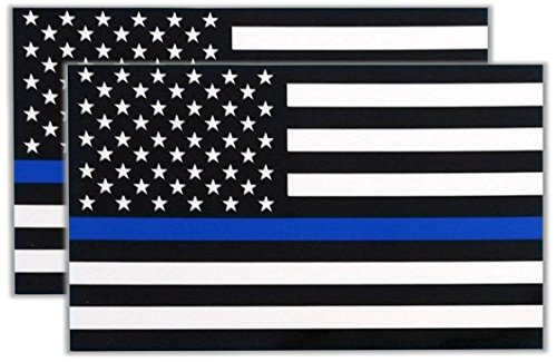 Thin Blue Line, 2 pack, flag, I Make Decals®, waterproof, subdued US Flag Decal with blue stripe, white vinyl base, 3