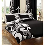 Just Contempo Reversible Duvet Cover Set - Double, Black by Just Contempo