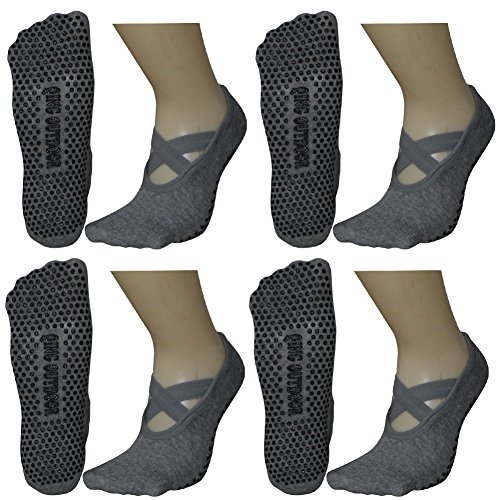 Women's Ballet Style No Show Low Cut Hospital Slipper Socks Great for Barre Pilates Yoga with Non Skid Grips