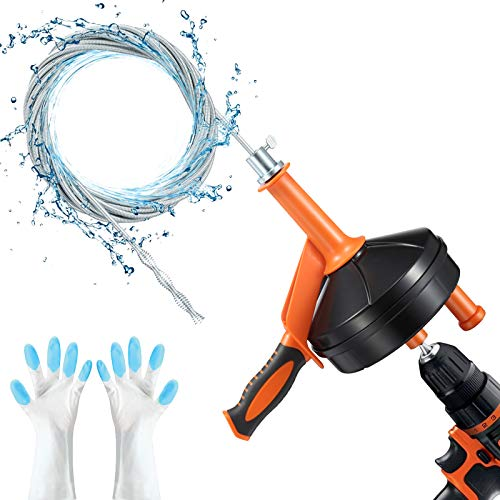 Drain Auger, Breezz Clog Remover Snake Drain with Drill Adapter, 25 Feet Heavy Duty Flexible Plumbing Snake Use Manually or Powered for Kitchen,Bathrom and Shower Sink, Comes with Gloves (Orange)