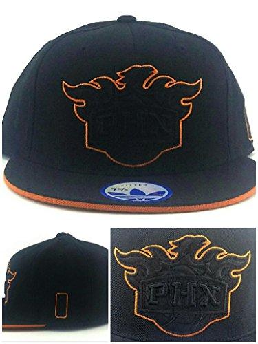 adidas Phoenix Suns PHX New PHX Black Tonal Orange Shadow Era Fitted Hat Cap 7 3/8 ()