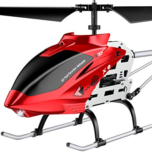 RC Helicopter, S37 Aircraft with Altitude hold,3.5 Channel, Sturdy Alloy Material, Gyro Stabilizer and High &Low Speed, Multi-Protection Drone for Kids and Beginners to Play outdoor-Red Biggest Size