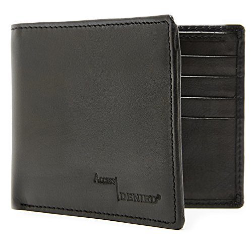 Genuine Leather Wallet Mens Slim Minimalist Bifold 4 Card Slots RFID Blocking (Wallet Black Leather)