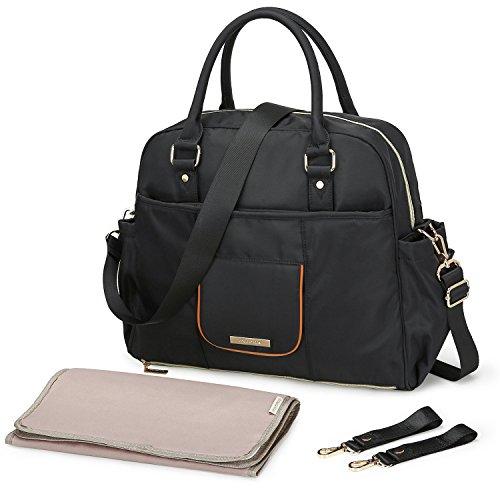 MOMMORE Nylon Diaper Bag Large Totes Nappy Handbag Changing Shoulder Bag with Changing Pad, Shoulder Strap, Stroller Hooks, Black