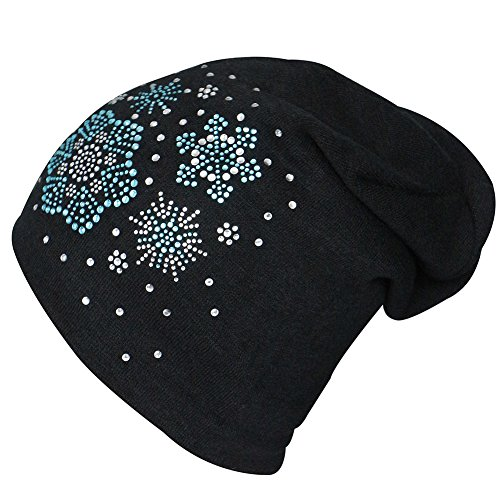 Price comparison product image Hiloving Winter Warm Slouch Snowflake Snow Cotton Baggy Beanies Hats For Women (Black)